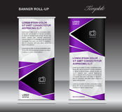 Purple roll up banner stand template, stand design,banner design Royalty Free Stock Image