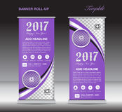 Purple roll up banner template, banner design, stand template. Display template, pull up, happy new year 2017 Stock Images