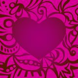 Purple romantic valentine card with curly frame Royalty Free Stock Photo