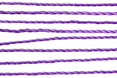 Purple rope. Set of purple rope patterns, isolated on white Stock Images