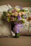Purple rose bouquet for the bride Royalty Free Stock Photo