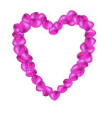 Purple rose petals in shape of heart Stock Image