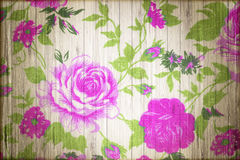 Purple rose vintage from fabric on  wooden Stock Photos