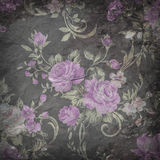 Purple rose wallpaper on stone background  , Grunge design.  Royalty Free Stock Images