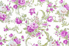 Purple rose on white fabric background, Fragment of colorful ret Stock Image