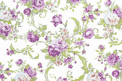 Purple rose on white fabric background Stock Photos