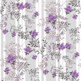 Purple roses flowers retro seamless pattern on striped Royalty Free Stock Photo