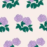 Purple roses in a seamless pattern design