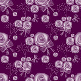 Purple roses seamless pattern on purple Royalty Free Stock Images