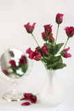 Purple roses in a vase with mirror Stock Photos