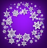 Purple round background with snowflakes. Royalty Free Stock Photos