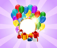 Purple round golden frame festive poster with balloon and gift box and sparkle light effect Stock Photos