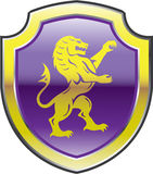 Purple Royal Shield with golden Lion Vector art Royalty Free Stock Image