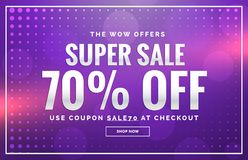 Purple sale banner design with offer design for promotion Royalty Free Stock Photography