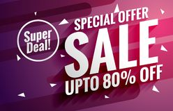 Purple sale banner design template for business promotion Royalty Free Stock Image