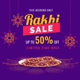 Purple sale banner or flyer design with 50% discount and rakhi. Wristbands in a tray for celebration concept Stock Photography