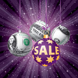 Purple sale dollar balls Royalty Free Stock Photography