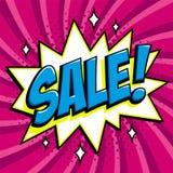 Purple sale web banner. Pop art comic sale discount promotion banner. Big sale background. Decorative background with Stock Photo