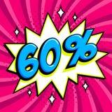 Purple sale web banner. Sale sixty percent 60 off on a Comics pop-art style bang shape on pink twisted background. Big. Sale background. Pop art comic sale Stock Photos