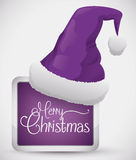 Purple Santa's Hat on Squared Button, Vector Illustration Royalty Free Stock Photography