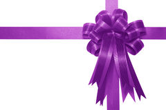Purple satin gift bow Royalty Free Stock Images