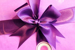Purple satin ribbon. Decoration and ornament detail, celebration concept Royalty Free Stock Image