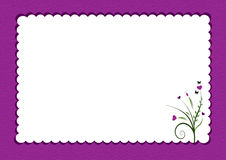 Purple scalloped border with flowers Stock Photos