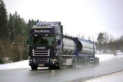 Purple Scania R500 Tank Truck on Rainy Day Royalty Free Stock Photos