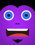 Purple scared monster face Royalty Free Stock Photography