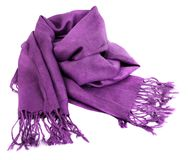 Purple scarf. Beautifull purple scarf isolated on white background Royalty Free Stock Images