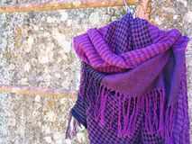 Purple scarf. Royalty Free Stock Photo