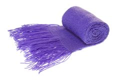 Purple scarf on white background Stock Photo