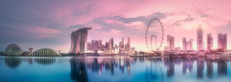 Purple sunset of Marina bay skyline, Singapore. Purple scenic sunset of Marina bay skyline, Singapore royalty free stock photography