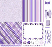 Purple scrapbook kit Stock Photos