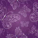 Purple seamless abstract ornament with white hand  Stock Photos