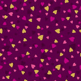 Purple  seamless  background with  golden and pink  hearts Stock Photos