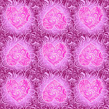 Purple Seamless Pattern with Heart Silhouette Royalty Free Stock Images
