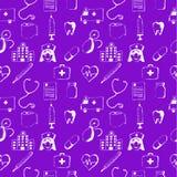 Purple seamless pattern-medical items Stock Photos