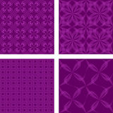 Purple seamless pattern set. Purple seamless curved line pattern background set Stock Photos
