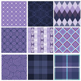 Purple seamless patterns Royalty Free Stock Images