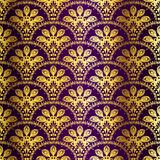 Purple seamless peacock sari pattern Stock Photography