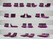 Purple Seating, Chairs, Sofas. Collection of two adjustable purple chairs or couches in different positions royalty free illustration
