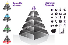 Purple set of isometry symmetrical pyramid charts, diagram 5 levels with glass texture. Elements infographics. Vector Royalty Free Stock Image