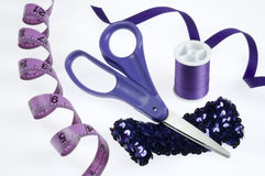 Purple Sewing Supplies Royalty Free Stock Photography