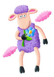 Purple sheep with flower Stock Photo