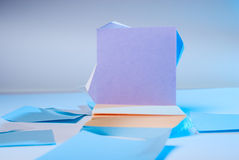 Purple sheet of paper. Colorful sticky note. Paper records. Royalty Free Stock Photography