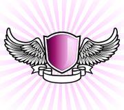 Purple shield emblem vector illustration