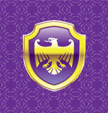 Purple Shield With Golden Eagle Vector Royal Icon floral background Royalty Free Stock Photo