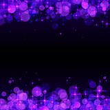 Purple shining bokeh frame abstract background Stock Photos