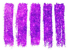 Purple shining glitter polish samples Royalty Free Stock Images